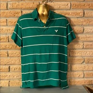 American Eagle Green Striped Collared T-Shirt